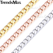 Trendsmax 5mm Mens Womens Chain Curb Chain Gold Filled Necklace Wholesale Dropship Jewelry GNM89