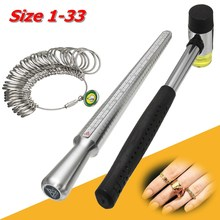 3pcs/set 250mm Stainless Steel Ring Sizer Guage Mandrel Finger Sizing Stick Measure Standard Jewelry Tool With Hammer
