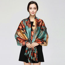 180cm*90cm Women 2017 New Fashion Designer Brand Tree Branches all match Long Silk Scarf Big Shawl Wrap YAU024(China)