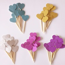 10pcs/lot Glitter Small Heart Cake Topper Multi Colors Love Flags Stick For Wedding Birthday Party Cake Baking Supplies(China)