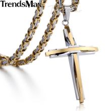 Trendsmax Gold Silver Cross Necklace for Men Stainless Steel Byzantine Chain Men's Pendant Jewelry KPM82(Hong Kong,China)