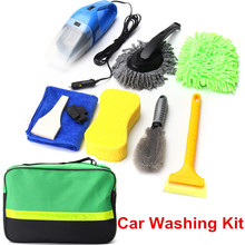 Car Cleaning Kit 8 PCS Set Products Tools To Wash Clean Interior Exterior Vacuum Cleaner+Shovel+Sponge+Glove For Car