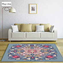 Carpet Golden Living Room Bedroom Floral Circle Baroque Element Turkish Ottoman Art Arabesque Luxury Round Pale Blue Pink Yellow