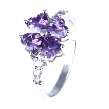 Buy Fashion Purple Love Heart Crystal Women Rings Wedding Accessories Silver Plated for $1.20 in AliExpress store