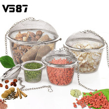 3 Sizes Spice Seasoning Bag Tea Strainer Chained Lid Stainless Steel Mesh Ball Tea Coffee Filter Basket Infuser Kitchen Tools(China)