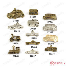 Wholesale Truck Bus Classic Cars Train Scooter School Bus Taxi Charms Pendants More styles can picked(China)