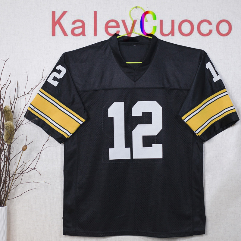 Retro star #12 Terry Bradshaw Embroidered Throwback Football Jersey M&N 48 50 52 54 56 Jerseys(China (Mainland))