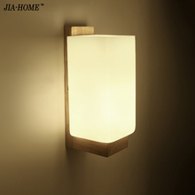 Modern Brief Bedside Solid Wood Wall Lamp rectangl Frosted Glass Oak Wood Wall Lights For Bedroom LivingRoom Hotel Free Shipping(China)