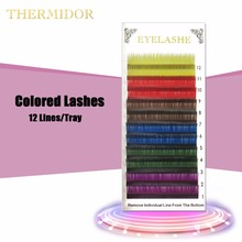 Colored Eyelashes For Building 12 Lines/Tray Rainbow Eyelash Extensions Colored Cilia Festival Makeup Magnetic Eyelashes BK1(China)