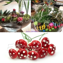 10Pcs/lot Mini Mushroom Garden Decoration Ornament Miniature Plant Pots Fairy DIY Dollhouse