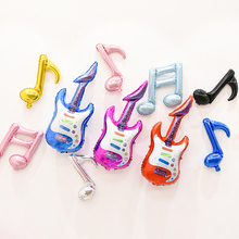 The fashion red blue rose guitar inflatable foil balloon Music Concert Cheering Stick,kids toys,prom Party,Carnival supplies