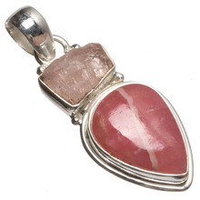 "StarGems(tm) Natural Rhodochrosite and Drusy Druzy Handmade Mexican 925 Sterling Silver Pendant 1 3/4""(China)"