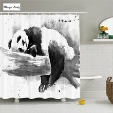 Shower Curtain Bathroom Accessories China Panda Tree Branch Classic Asian Watercolor Art Black White 180*200 cm
