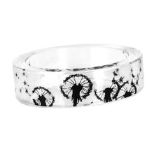 Beautiful Dandelion Resin Black And White Scenery Ring Original  Fresh Diy Handmade Dry Flower  Ring for men /women jewelry