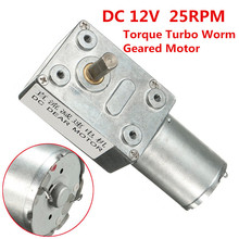 12V 25RPM Geared Motor Metal Reversible Torque Turbo Worm Geared Reducer DC Motor GW370 Best Price(China)
