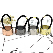 High Quality Women's Headwear Simple Circle Metal Buckle Connection Black Rubber Ring High Quality Elastic Hair Bands Girls(China)