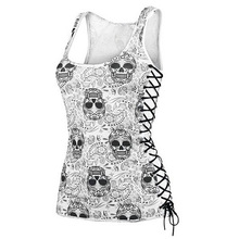 New Skull Head Design Tops Harajuku Sleeveless White T Shirts Fitness Women Vest Casual Camisole Tank Top(China)