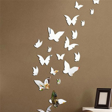 1 Set Butterfly Combination 3D Mirror Wall Stickers Home Decoration DIY Household Livingroom Bed Room Decoration(China)