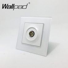 1 gang TV Socket Wallpad White Luxury Crystal Glass EU European Standard Television TV Port Jack Wall Socket with Claws Hooks(China)