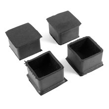 X Autohaux 38Mm Dia Square Furniture Table Chair Rubber Foot Pads Black 4 Pcs(China)