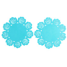 UXCELL Silicone Flower  Heat Resistant Table Pad Cup Mat Coaster 2 Pcs cup | mat
