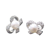 Fashion Jewelry Accessories 1 Pair Bow Shaped Simulated Pearl Woman Earrings Color Silver Plated EAR-0700