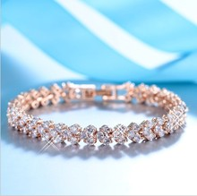 wholesale 2Color 925 Silver Charm Beads Crystals from Swarovski Bracelet for Women Micro Fine Jewelry girl Gift(China)