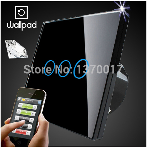 UK Wallpad Crystal Glass 3 Gangs Black Touch Wifi Wall Light Switch,Wireless Remote control light switch LED light,Free Shipping<br>