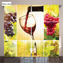 Kitchen Curtains Yellow Living Room Collage Wine Bottle Leaves Farm Harvest Autumn Village Green Red 2 Panels Set 145*265 sm