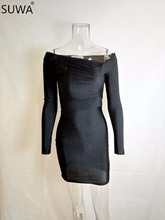 Wholesale foreign trade sexy dress long sleeve slim fit bodycon dress summer black dress robe XM051(China)