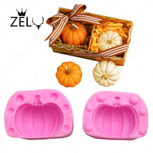 ZELU 2Pcs/lot 3D Pumpkin Silicone mould Fondant Halloween Cake Decorating Tools Chocolate Mousse Mold Resin Clay Soap mould