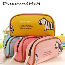 1 PCS Cute Cartoon Plush Pencil Case Kawaii Large Size School Kids Pencil Box Animals Stationery Fashion Makeup Bag for Women(China)