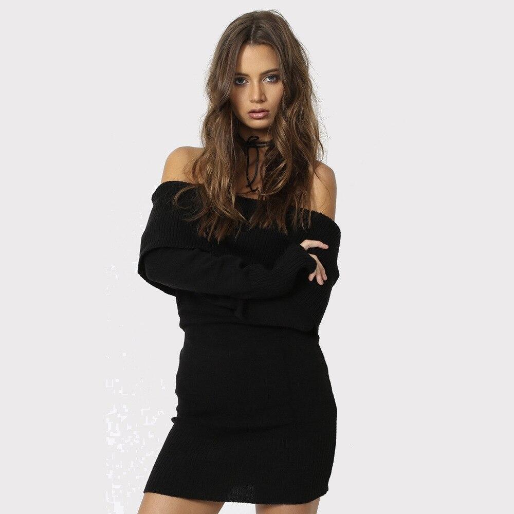 421ec54ddc1 Off shoulder knitted sweater dress bodycon Women elegant loose winter  pullover mini dress Autumn long sleeve gray sweater jumper