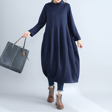 New Autumn Winter Women Midi Dresses Pockets Casual Solid Kaftan Loose Stand Collar Long Sleeve Dress Fashion Baggy Vestidos(China)