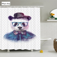 Shower Curtain Funny Bathroom Accessories Hipster Panda Tie Resident Dickie Hat Glasses Watercolor Art Black 180*200 cm
