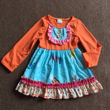 100% Cotton Fall Sweet Boutique Hot Sale Ruffles Bib Long Orange Sleeve Baby Smart Girl Clothing Candy Print Dress(China)