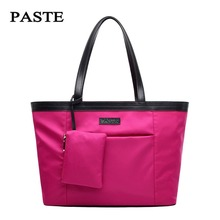 Paste 2017 New Canvas nylon Oxford cloth fashion commuter large capacity bag female shoulder black/hot pink/blue soft bag 0718(China)