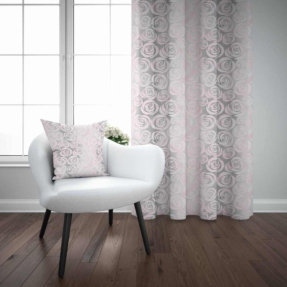 Else Gray Pink Modern Retro Roses Floral Nordec 3d Decor Print Living Room Bedroom 1 Panel Set Curtain Combine Gift Pillow Case