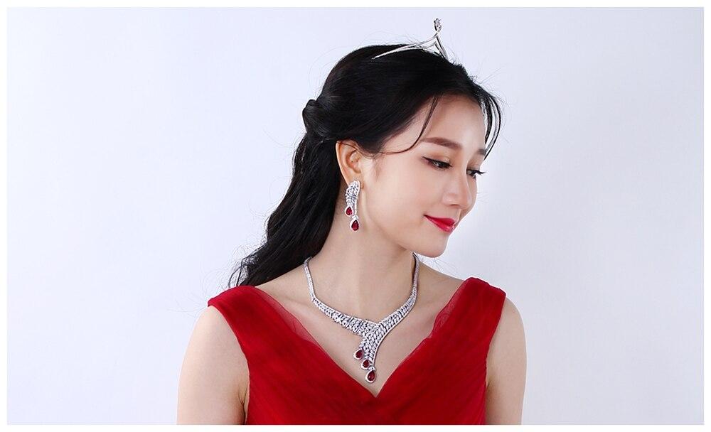 Red drop jewellery set SN04156SI (7)