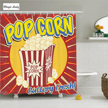 Shower Curtain Red Bathroom Accessories Vintage Grunge Pop Corn Cinema Movie Film Snack Retro Yellow 180*200 cm