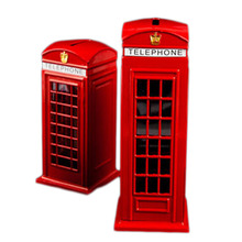 British English Metal Alloy Save Money Coin Piggy Bank London Street Red Telephone Booth Bank Souvenir Model Box(China)
