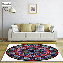 Carpet Poliester Mandala Circular Floral Traditional Living Room Petals Bedroom Art Native Ornaments Round Indian Blue Red Green