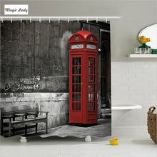 Shower Curtain Bathroom Accessories London Famous Landmarks City Capital England Britain Red Grey 180*200 cm