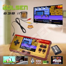 Retro Handheld Game Consoles mini portable video game console 8 Bit gifts classic game 638 (Brown)