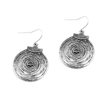 2017 Vintage Silver Plated Bohemian Earrings Carved Round Corrugated Earrings Female Ethnic Long Hanging Earring(China)