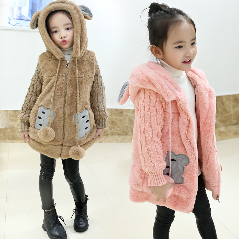 New Years Eve 2017 Cute Cartoon Girl Long Jacket Warm Hooded Fur Clothes Childrens Winter Jacket 3 4 5 6 7 8 9 10 11 12 13 Y 7<br>
