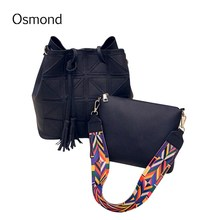 Osmond Women Colorful Strap Shoulder Bag Handbag Messenger Crossbody Clutch Tassel Composite Bag Set Plaid Plain Tote Bag Large