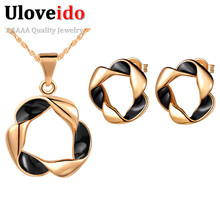 Uloveido Rose Gold Color African Costume Jewelry Sets Vintage Necklace Women Earrings Set 4 Colors Flower 2017 New Jewelry T258