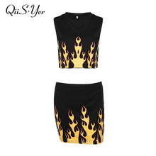 2017 Women Two Piece Dress Crop Top Fire Printing Cotton Female Tank+Skirtsuit Casual O-Neck Sexy Skirtsuits Fashion Vestidos(China)