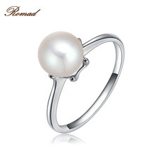 Original Silver Color Simulate Pearl Ring With White Cultured Pearl Authentic Cultured Elegance Pearl Ring Jewelry(China)